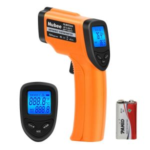Nubee NUB8550H Digital Infrared Thermometer -58°F~ 1022°F (-50°C ~ 550°C) with Adjustable Emissivity & Max Display Non-Contact Temperature Gun with Laser Thermometer for Cooking Meat Kitchen Refrigerator Pool Oven, Orange and Black