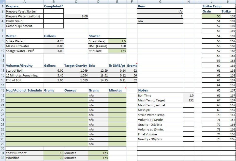 Homebrewing Spreadsheet
