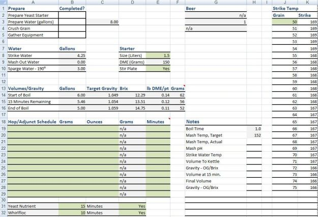 Homebrewing Spreadsheet