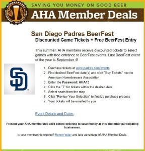 discount padres tickets for aha members