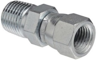 "Eaton Weatherhead 9100X4X4 Carbon Steel SAE 37 Degree (JIC) Flare-Twin Fitting, Swivel, Adapter, 1/4"" NPT Male x 1/4"" JIC Female"