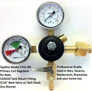 Taprite 3741-BR 1-Product 60# 2000# Pressure Gauge Beer Primary Co2 Regulator