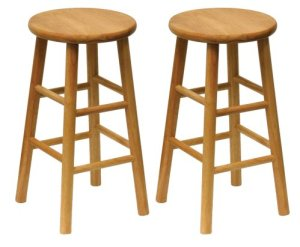 Winsome Wood Wood 24-Inch Counter Stools, Set of 2, Natural Finish