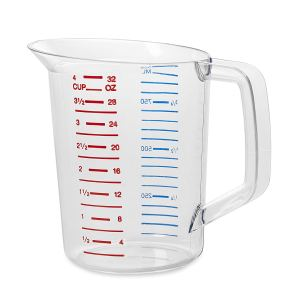 Rubbermaid Commercial Bouncer Measuring Cup, 1-Quart, Clear, FG321600CLR