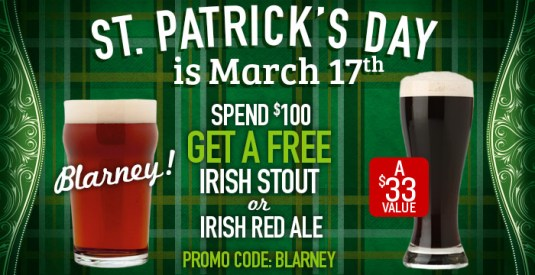 Free Irish Red Ale or Irish Stout!