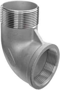 "Stainless Steel 304 Cast Pipe Fitting, 90 Degree Street Elbow, Class 150, 1/2"" NPT Male X Female"