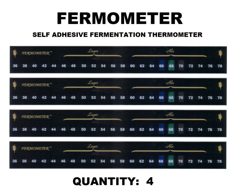 4 LCD FERMOMETER STRIP THERMOMETER SELF STICK TO BEER ALE BUCKET OR WINE CARBOY