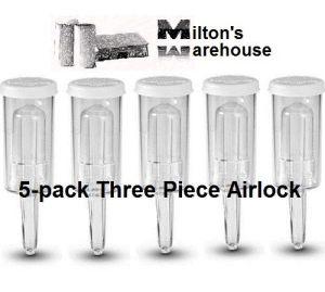 5-pack Three Piece Airlock - Home Brew Ferment -Beer /Wine /Moonshine /Kombucha