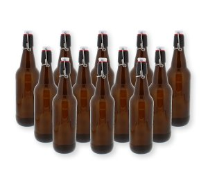 G. Francis Swing Top Bottles w/ Caps - 16.9oz, Amber Glass, Reusable for Homebrew - 12 pack