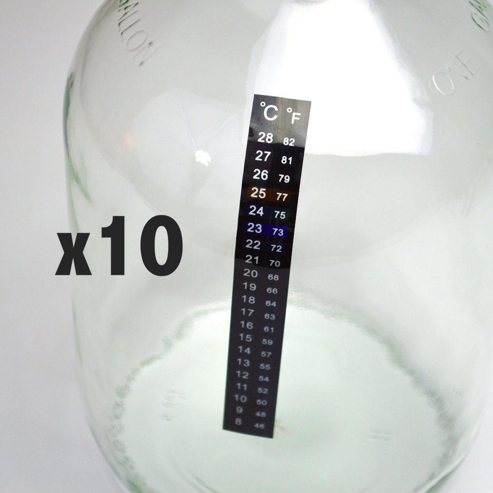 10 PK Fermenter Adhesive Crystal Strip Aquarium StickOn Thermometer 46-82F 8-28C