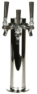 Draft Warehouse Triple Faucet Stainless Steel Body Draft Beer Tower with 3-Inch Diameter