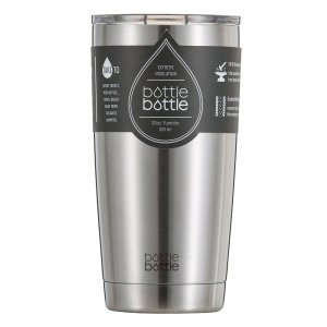 20 oz Insulated Tumbler, Bottlebottle Stainless Steel Double Wall Coffee Travel Mug, Silver