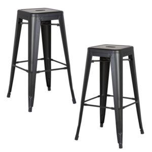 "AC Pacific Modern Backless Light Weight Industrial Metal Barstool 4 Leg Design, 30"" Seat Bar Stools (Set of 2), Matte Black Finish"