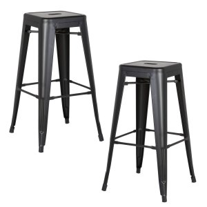 "AC Pacific Modern Backless Light Weight Industrial Metal Barstool 4 Leg Design, 30"" Seat Bar Stools (Set of 2), Matte Black Finish"