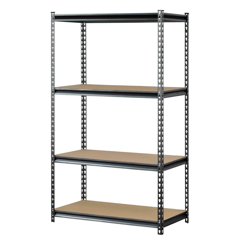 Muscle Rack UR361860PB4P SV Silver Vein Steel Storage Rack, 4 Adjustable  Shelves, 3200