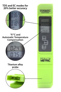 Professional TDS ppm Meter | Digital Test Pen Combines EC, TDS & Temp (3-in-1) | 0-9990 ppm & ± 2% Accuracy | Quick and Easy Testing For Hydroponics, Ro System, Pool, Aquarium, Spa and Water Hardness