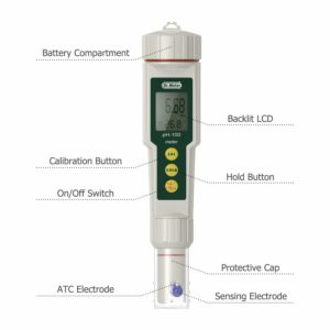 Dr.meter PH100-V 0.01 Resolution High Accuracy Pocket Size pH Meter with ATC, 0-14pH Measurement Range