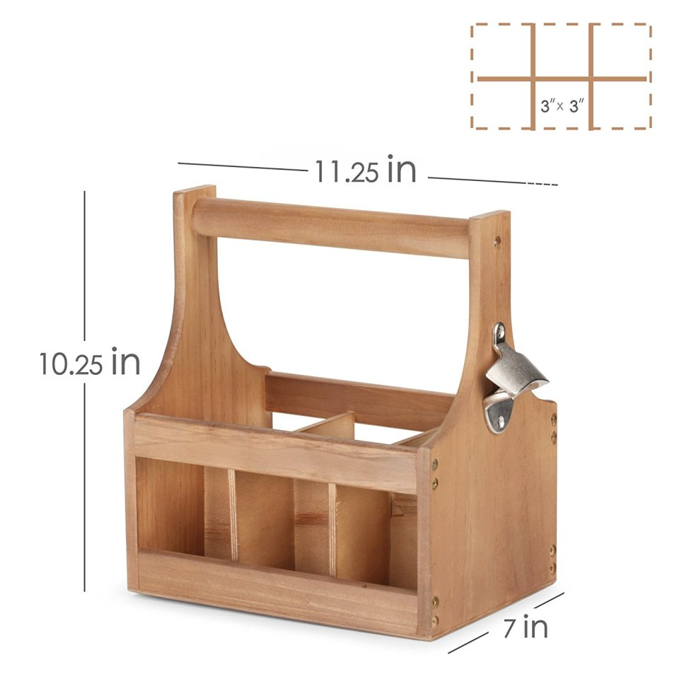Wooden Beer Carrier - 6 Six Pack Bottle Caddy Tote Holder with Attached Bottle Opener Hold Beer & Sodas
