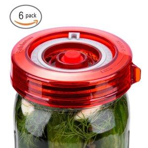 6-Pack Fermenting Lids Kit w/ Bonus Pump, galahome Waterless Airlock For Mason Jar Fermentation, Turn Wide Mouth Jars to Crock Pots