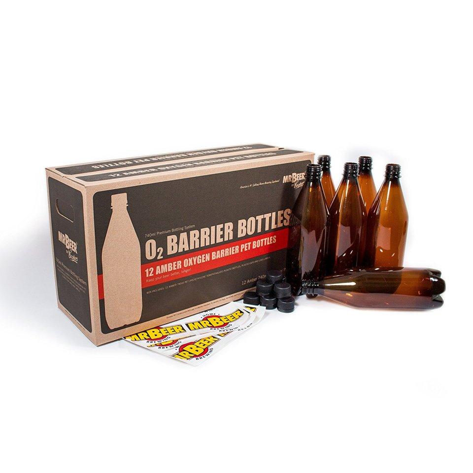 Mr. Beer Deluxe Oxygen Barrier Homebrewing 2 Gallon Beer Bottling Set, 740ml