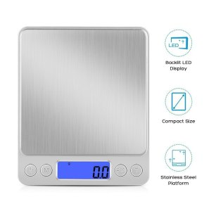 KUNSTWORKER Digital Kitchen Scale, 3000g/ 0.01g Pro Cooking scale with Back-Lit LCD Display, Accuracy Pocket Food Scale, Auto Off, Tare, PCS Function, Stainless Steel, Batteries Included - Silver