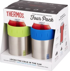 Thermos Stainless Vacuum Insulated 12 oz Can Insulator (Set of 4), Multicolor