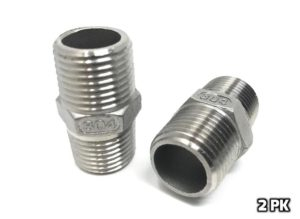 "CONCORD 304 Stainless Steel 1/2"" NPT to 1/2"" NPT Hex Nipple Home Brew. 2 Pack"