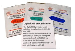 Digital Aid pH Calibration Powder (4.00pH, 6.86pH, and 9.18pH). Light and Portable Just Add Distilled Water. Makes 3 Cups of pH Calibration Buffer Solution, 1 of Each 4.00pH, 6.86pH, and 9.18.
