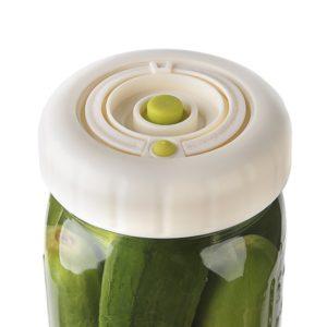 Pickle Lid - Maintenance Free Waterless Airlock Lids for Mason Jar Fermentation, Homemade Real Pickles, Sauerkraut, Kimchi. Mold Free, BPA Free - WIDE MOUTH, 3 LIDS, 1 PUMP