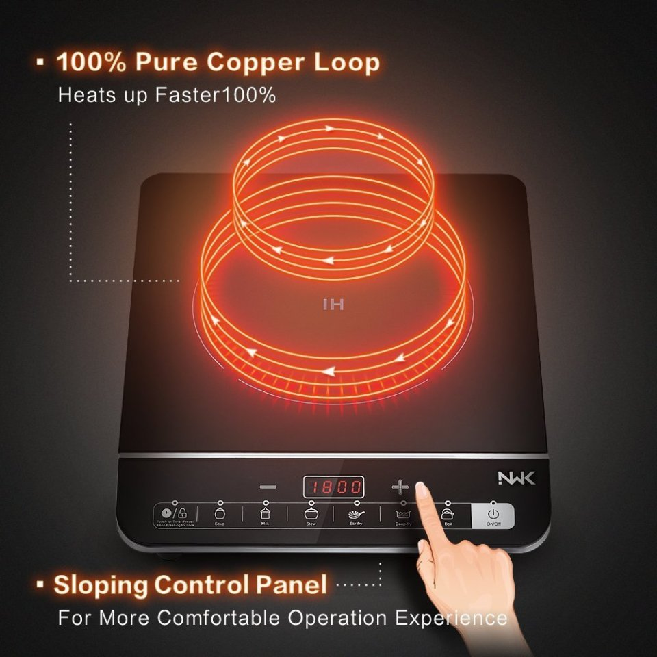 NWK Multifunctional Quick Heat 1800W Preset/Count Down Timer 6 Pre-Programed Induction Cooker Countertop Burner