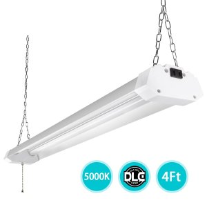 4ft LED Utility Shop Lights for Garage, 40W Bright Plug-in LED Shop Light Daylight 5000K Frosted Cover, Linkable Hanging Fluorescent Shop Light Fixture Replacement