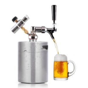 HaveGet 64 Ounce Mini Beer Keg Pressurized Growler for Craft Beer Dispenser System CO2 Adjustable Draft Beer Faucet with Perfect Pour Regulator