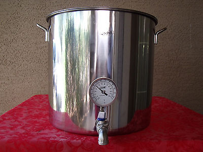Jarhill 49 QT STAINLESS HOME BREW BOILING KETTLE STOCKPOT w/ VALVE & THERMOMETER