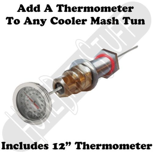 "Mash Tun Cooler Bulkhead Adapter & 12"" Thermometer Homebrew Home Beer Brewing"