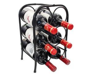 PAG 6 Bottles Free Standing Metal Wine Racks Small Wine Holder Stand for Countertop/Tabletop, Black
