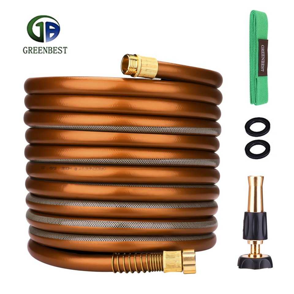 Greenbest Garden/Farm/Water Hose, Heavy Duty No Kink w/Premium 3/4 Spray Nozzle for Watering Lawn, Yard, Garden, Car washing, Pet and Home Cleaning (Color Coffee Gold, 50FT)