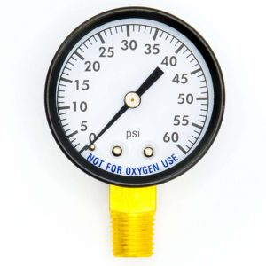 Super Pro 80960BU Pool Spa Filter Water Pressure Gauge, 0-60 PSI, Bottom Mount, 1/4-Inch Pipe Thread