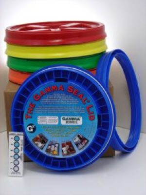 Gamma Seal Lid, Assorted Colors, 5 Pack - New! - Boxed! - 5 Gallon Bucket Lids (Fits 3.5, 5, 6, & 7 Gal.) Storage Container Lid