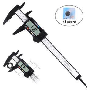 Adoric Digital Caliper, Micrometer Caliper Measuring Tool, Auto-off Vernier Calipers with Inch/ MM Conversion, Large LCD Screen, 0-6Inch/150mm Carbon Fiber Gauge