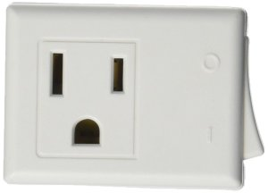 Leviton 1470-W 15 Amp, 125-Volt AC 3-Wire Grounded Switch Tap with ON/OFF Button, White