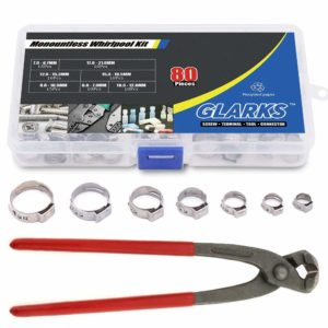 Glarks 80Pcs 7-21mm 304 Stainless Steel Single Ear Stepless Hose Clamps with Pincers Kit