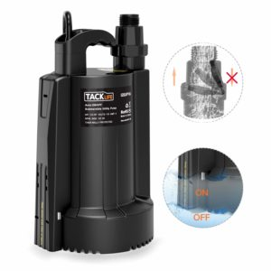 Submersible Water Pump, 1/3 HP Automatic ON/OFF Electric Water Removal Pump,4 Amp High-efficiency Pure Copper Motor with Thermal Protection-2550 GPH Maximum Flow,Low Noise 30DB with Check Valve(Black)