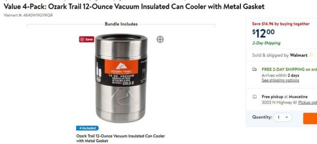 """68901182a42 About: from Wal-Mart """"Ozark Trail 12-Ounce Vacuum Insulated Can Cooler with Metal  Gasket 4-Pack Get 4 can coolers for only $12 with this money saving deal."""