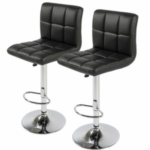 Best Choice Products Set of 2 PU Leather Adjustable Bar Stools Counter Swivel Barstool Pub Black