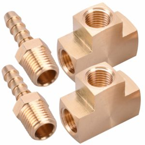 "WYNNsky Metals Brass Pipe Fitting Barstock Tee 2 PCS 1/4"" x 1/4"" x 1/4"" NPT Female Pipe 2 PCS 1/4"" NPT X 1/4"" Hose ID Brass Hose Barb Fittings"