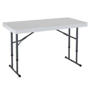 Lifetime 80160 Commercial Height Adjustable Folding Utility Table, 4 Feet, White Granite