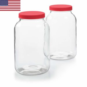 2 Pack - 1 Gallon Glass Jar w/Plastic Airtight Lid, Muslin Cloth, Rubber Band - Made in USA, Wide Mouth Easy to Clean - BPA Free - Kombucha, Kefir, Canning, Sun Tea, Fermentation, Food Storage