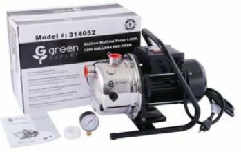 Green Expert 314052 1HP Portable Shallow Well Jet Pump with Stainless Steel Pump Head and Pressure Gauge for Clean Water Lawn Sprinkling pump with 1200 GPH