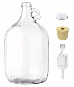 Home Brew Ohio 1 gal Jug With Twinbubble Airlock, Metal Cap, #6 Drilled Stopper