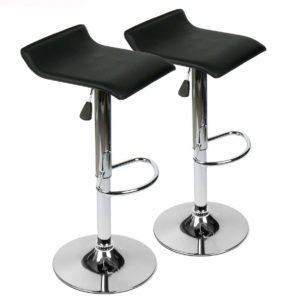 360 Degree Swivel Adjustable Bar Stool, Mordern Leather Pub Chair, Set of 2, Black